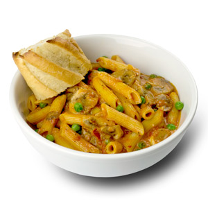 Penne Vodka w/ Mushrooms & Peas