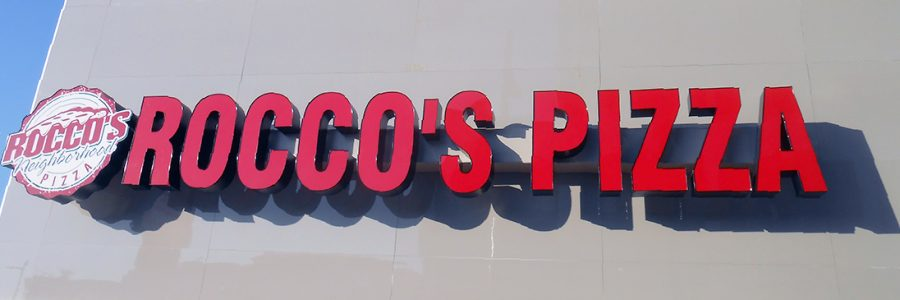 Slideshow graphic: Rocco's Pizza signage